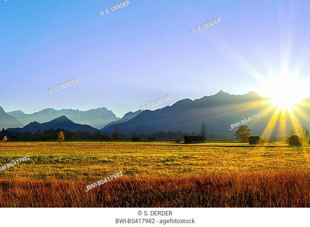 sunset at the Laber and Ettaler Mandl, left the Wetterstein Mountains, seen from Murnauer Moos, Germany, Bavaria, Oberbayern, Upper Bavaria, Ammergebirge