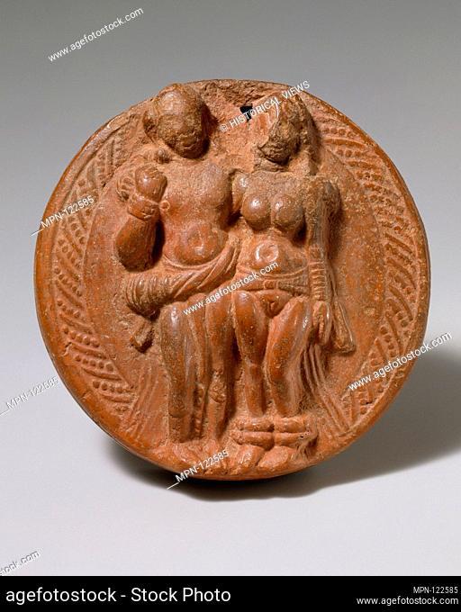 Loving Couple (Mithuna). Period: Kushan period; Date: 1st-2nd century; Culture: India (Uttar Pradesh, Mathura); Medium: Double-molded terracotta; Dimensions: D