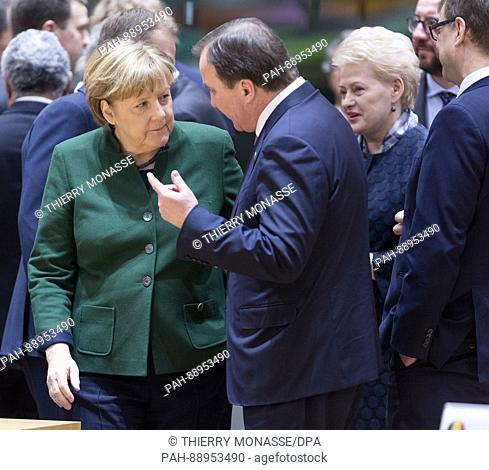 March 10, 2017. Brussels, Belgium: German Chancellor Angela Merkel (L) is talking with the Swedish Prime Minister Kjell Stefan Lofven (R) during an EU chief of...