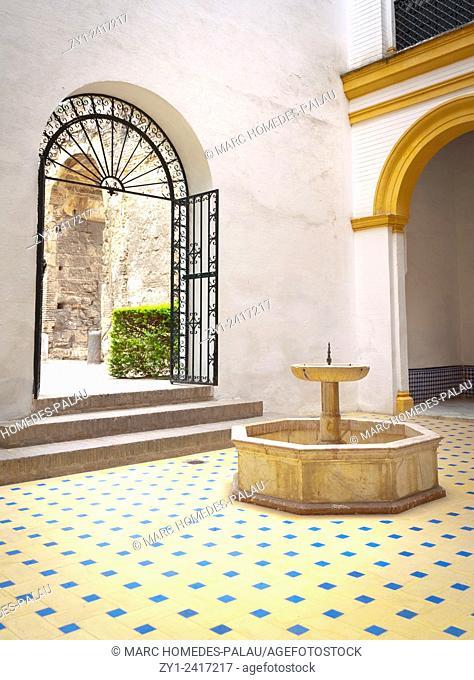 Courtyard inside the Alcazar of Seville