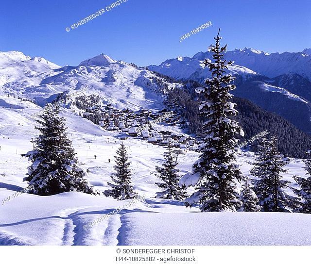 Aletsch, overview, Bettmeralp, village, chalets, winter, snow, scenery, landscape, mountains, Alps, canton Valais, Swi