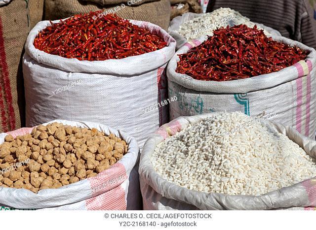 India, Dehradun. Chilis, Puffed Rice, Balls of Soybean Powder