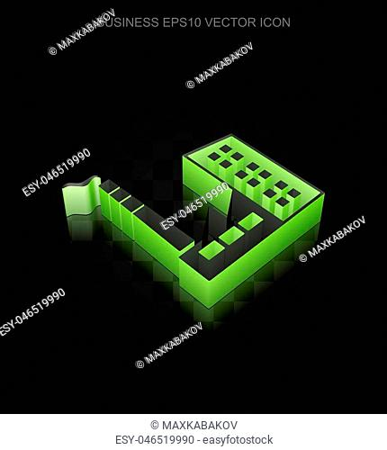 Business icon: Green 3d Industry Building made of paper tape on black background, transparent shadow, EPS 10 vector illustration