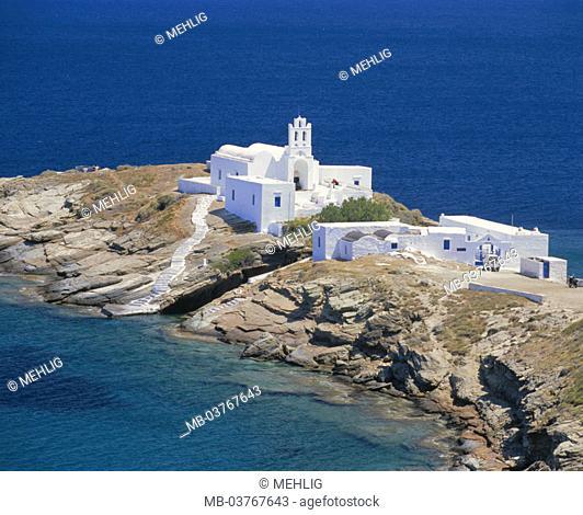 Greece, western Kykladen,  Island Sifnos, cloister Moni tis,  Chrissopigis Europe, southeast Europe, Kykladeninsel, coast, rock coast, rocky, headland, sea