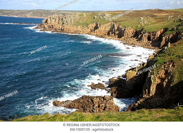 Land's End, cliffs at wesernmost point in UK, Cornwall, England
