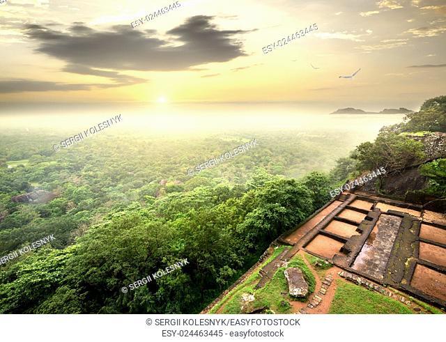 Ruins of prison on Sigiriya in Sri Lanka