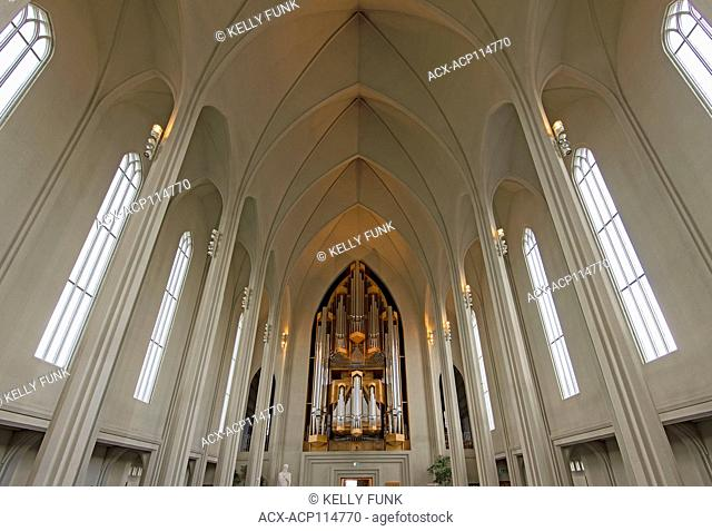 The inside of Hallgrímskirkja church of Hallgrímur) is a Lutheran (Church of Iceland) parish church in Reykjavík, Iceland