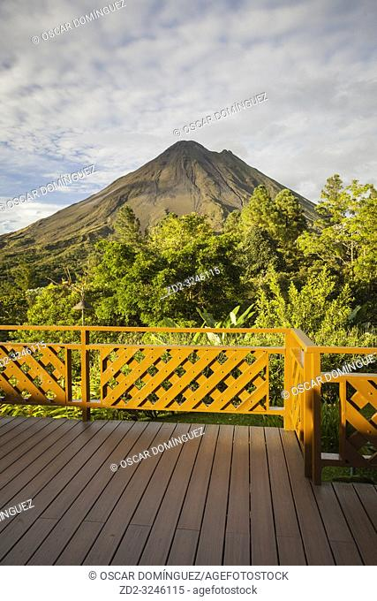 View of Arenal Volcano in the evening light. Arenal Volcano National Park. Alajuela province. Costa Rica