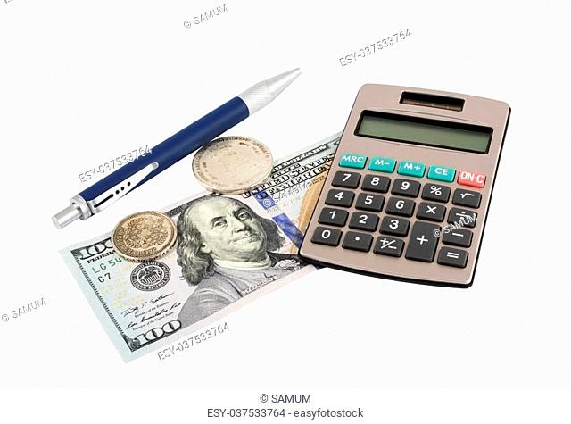 coin with pen and calculator on white background