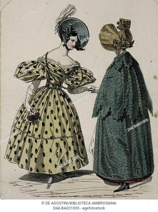 Woman wearing a yellow floral-patterened dress with puffed sleeves, white gloves and blue hat adorned with matching ribbons and white feathers and a woman...