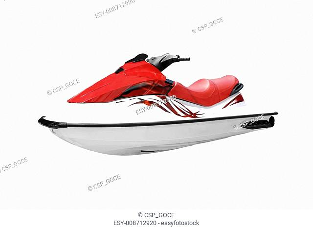 fast red and white jet ski