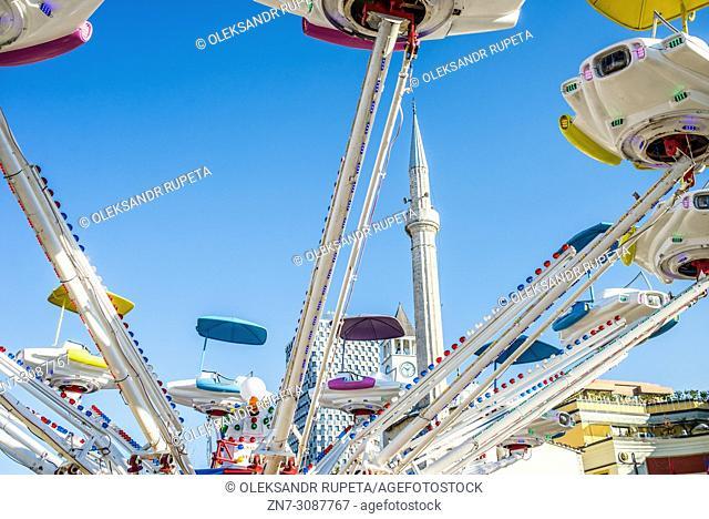Amusement park in the central square, Tirana, Albania