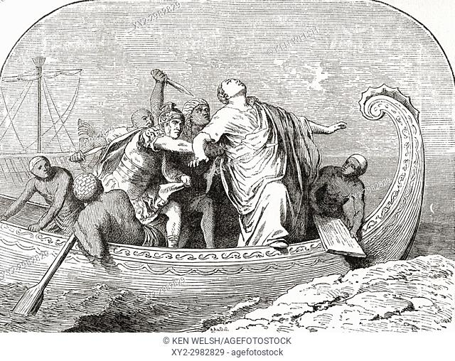 The murder of Pompey by Lucius Septimius, 48 BC. Gnaeus Pompeius Magnus, 106 - 48 BC, aka Pompey or Pompey the Great. Military and political leader of the late...