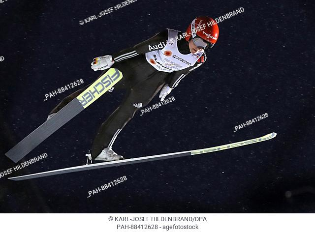 German world champion Carina Vogt in mid-air at the FIS Nordic World Ski Championships 2017 in Lahti, Finland, 24 February 2017