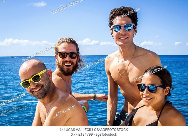 Tourists on a catamaran, journey in Saona island, Dominican Republic