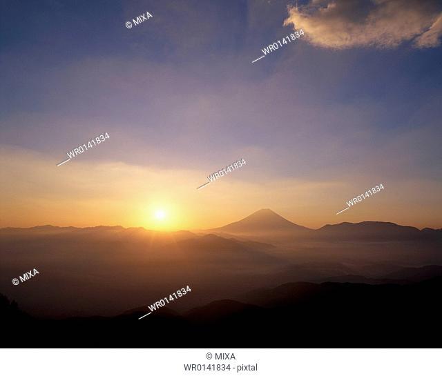 Mt.Fuji And Morning Sun, Yamanashi, Japan