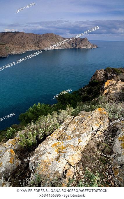 Jóncols bay and Punta de la Maçana from Norfeu cape, Cabo de Creus, Natural Park of Cap de Creus, Alt Empordà, Girona