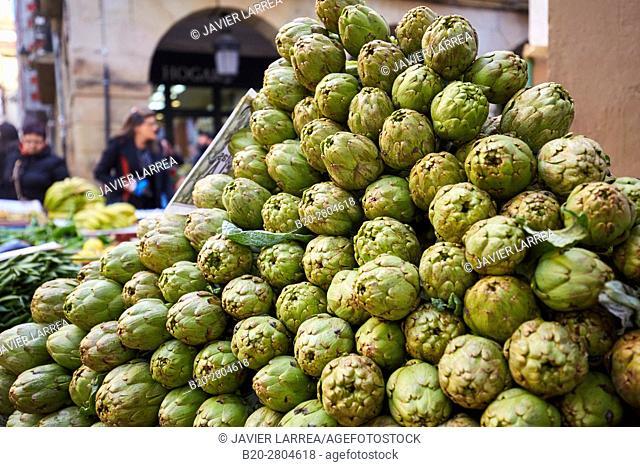 Artichokes, Ordizia Market, Special Christmas market, Ordizia, Gipuzkoa, Basque Country, Spain, Europe