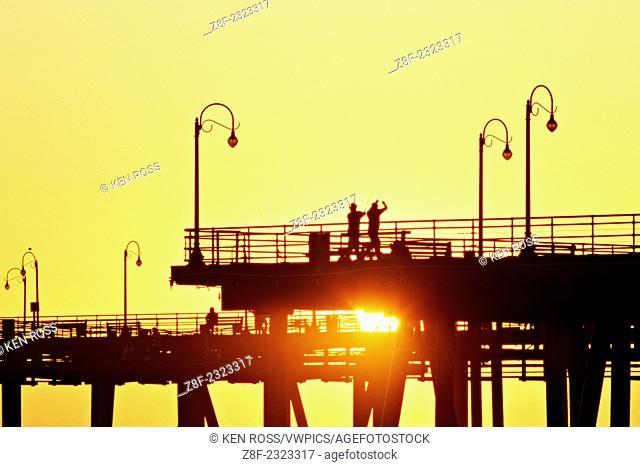 Santa Monica Pier at sunset, Santa Monica, California, USA