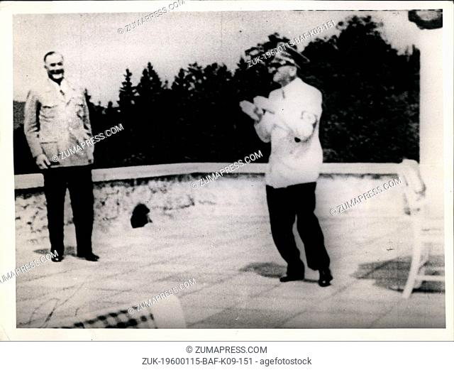 1937 - Adolf Hitler dances on deck balcony of house. The Berghof was Adolf Hitler's home in the Obersalzberg of the Bavarian Alps near Berchtesgaden, Bavaria