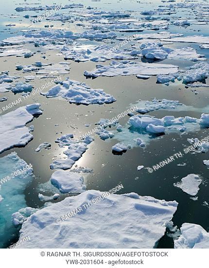 Icebergs, Hinlopen Strait, Spitsbergen Island, Svalbard, Norway