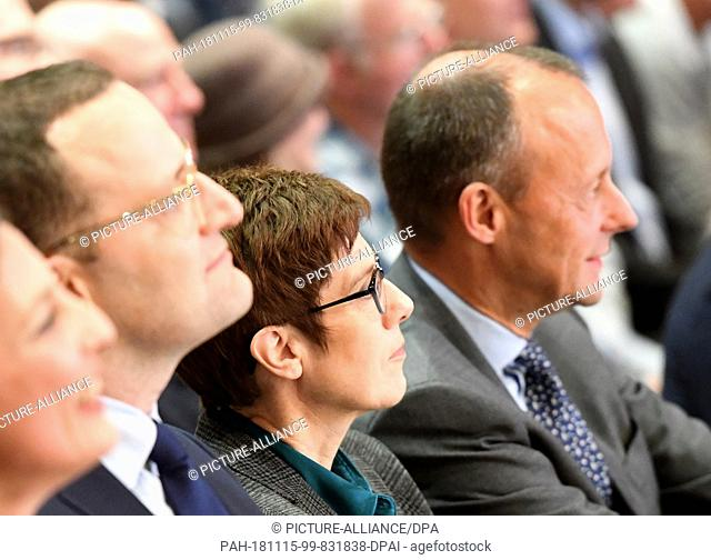 15 November 2018, Schleswig-Holstein, Lübeck: First CDU regional conference with the candidates for the CDU presidency: Health Minister Jens Spahn (all CDU,l-r)