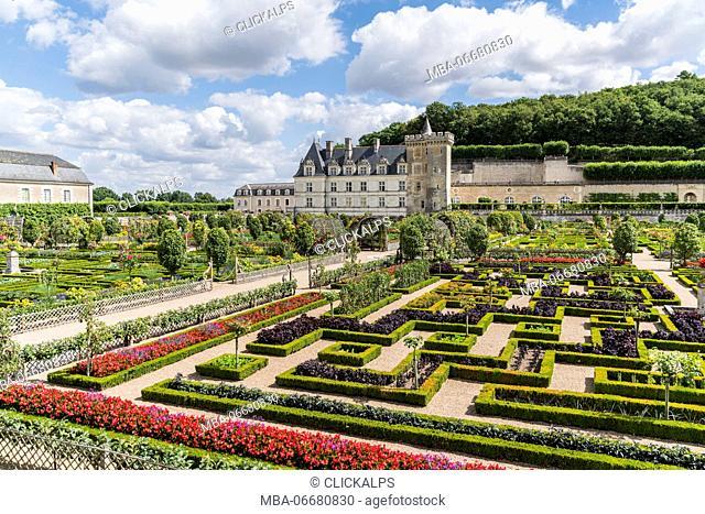 Villandry castle and its garden. Villandry, Indre-et-Loire, France