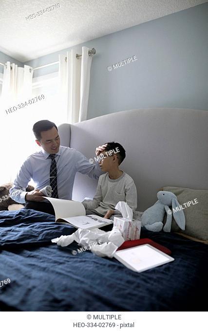 Businessman father feeling son