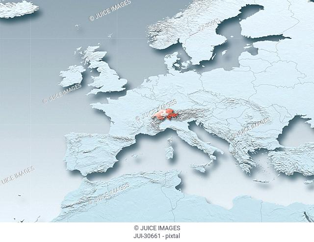 Switzerland, flag, map, Western Europe, grey, physical, grey, political