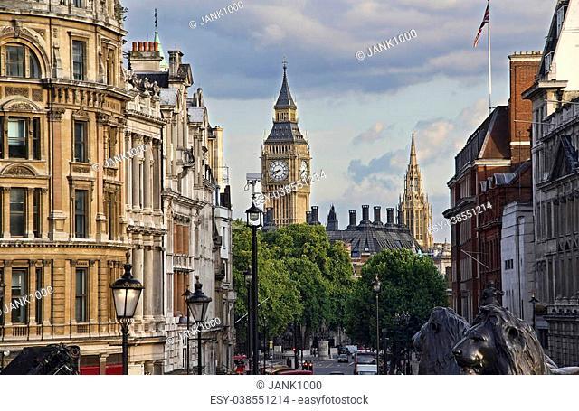 Big Ben tower, seen from Trafalgar Square in London, UK