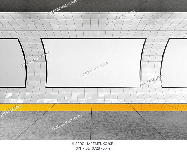 Blank horizontal billboard on the metro station. 3D illustration