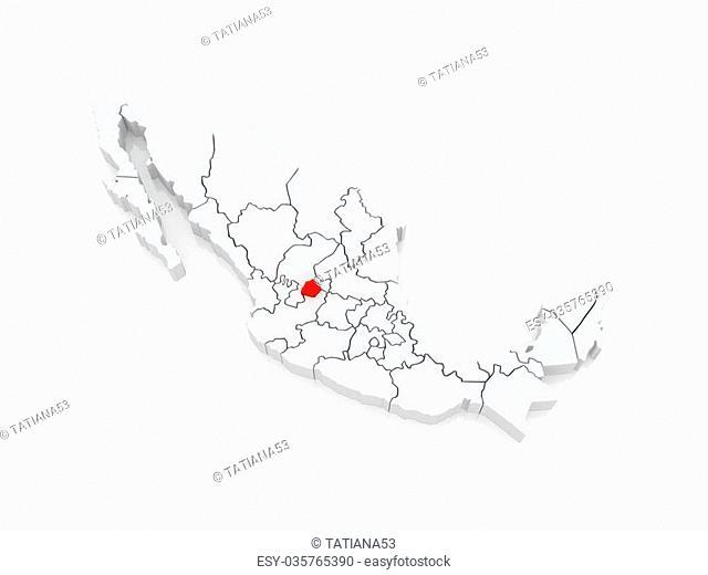 Map of Aguascalientes. Mexico. 3d
