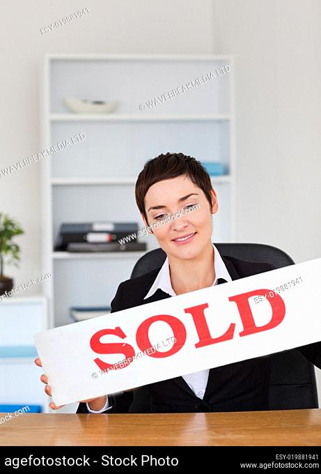 Estate agent with a panel