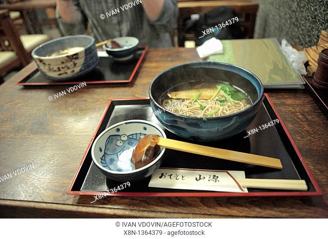 Traditional food, soba noodles with heering, Kyoto, Japan