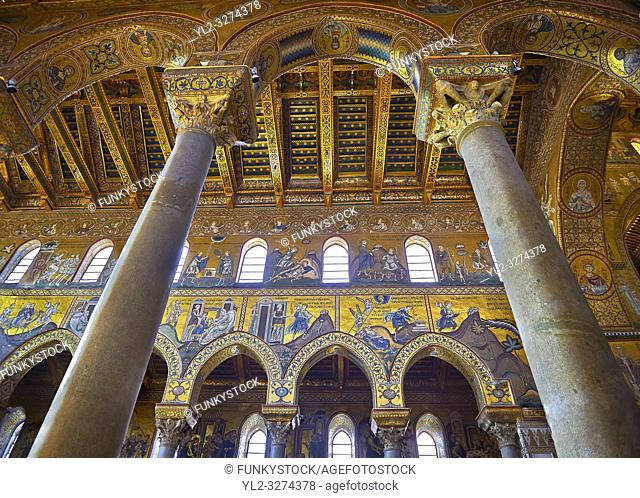 Mosaics of the Norman-Byzantine medieval cathedral of Monreale, province of Palermo, Sicily, Italy