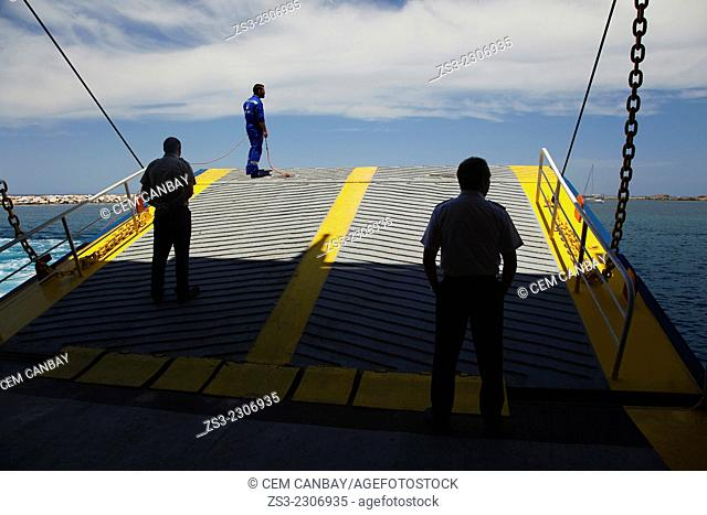 Captain and the seaman waiting for docking at the pier before unloading the passengers, Naxos Cyclades Islands, Greek Islands, Greece, Europe