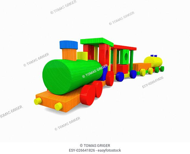 Small colorful toy train isolated on white background. 3D rendering