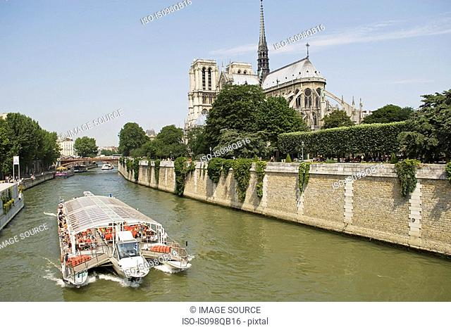 Pleasure boat on river seine