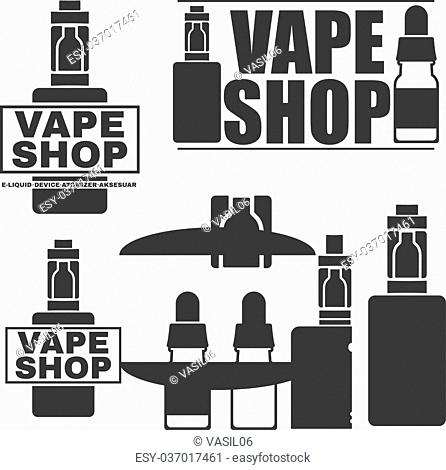 Set of monochrome logos or emblems of electronic cigarettes. Electronic cigarette and liquid, Vector