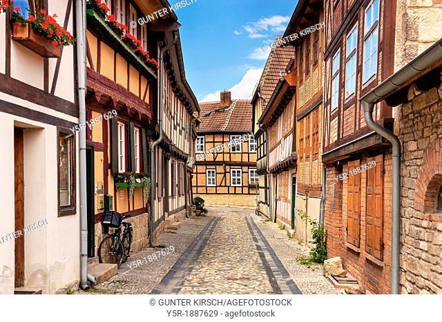 Gildschaft alley in Quedlinburg, Saxony-Anhalt, Germany, Europe