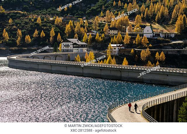 Lago di Fedaia, a reservoir at Passo Fedaia near Marmolada. Europe, Central Europe, Italy, October