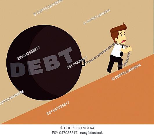Business man with a pendulum, the debt burden