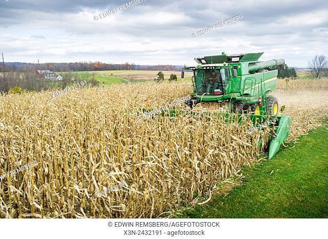 Combine harvesting corn in Jarrettsville, Maryland