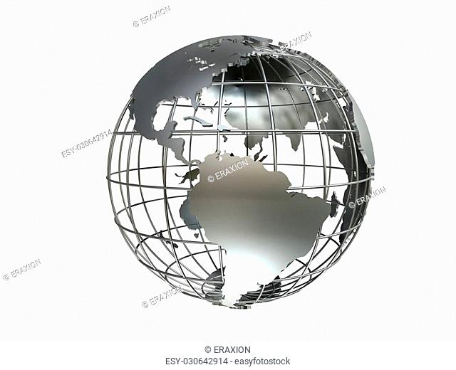 3d rendered illustration of a silver metal globe