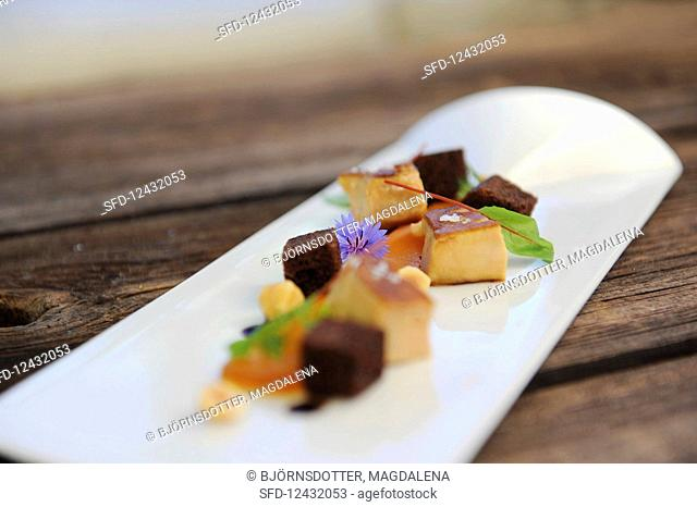Duck liver served on a platter