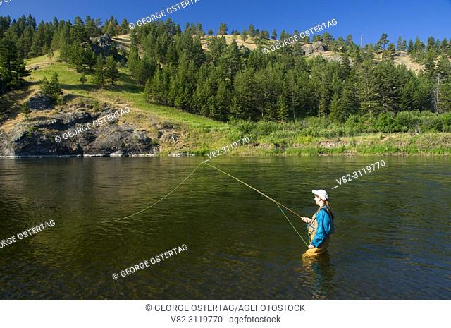 Flyfishing in Missouri River, Prewett Creek Fishing Access Site, Missouri River Recreation Road, Montana