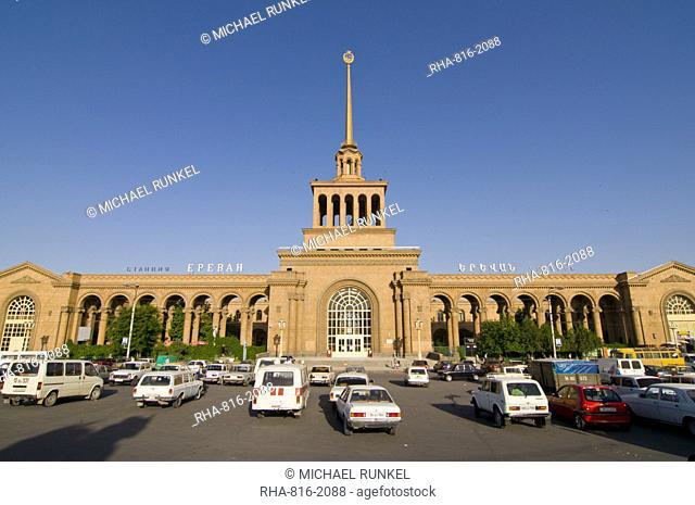 The railway station of Yerevan, Armenia, Caucasus, Central Asia, Asia