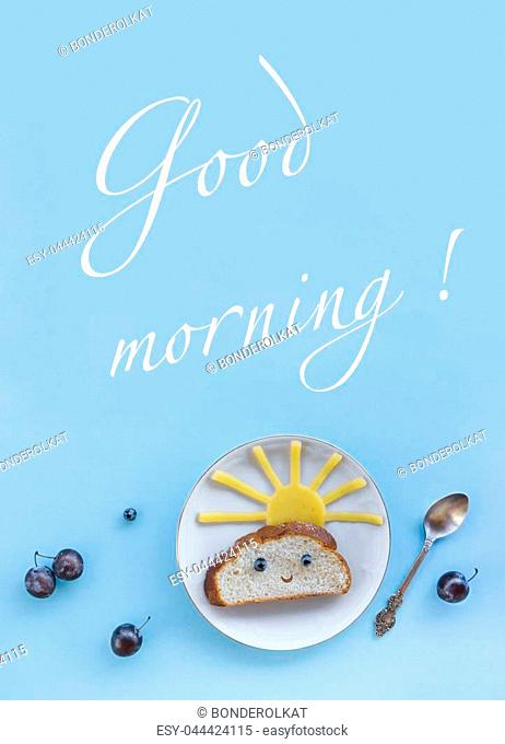 on a blue background breakfast morning sun cloud sky rays rays cute sandwich healthy food berries blueberries plum bread cheese plate spoon serving