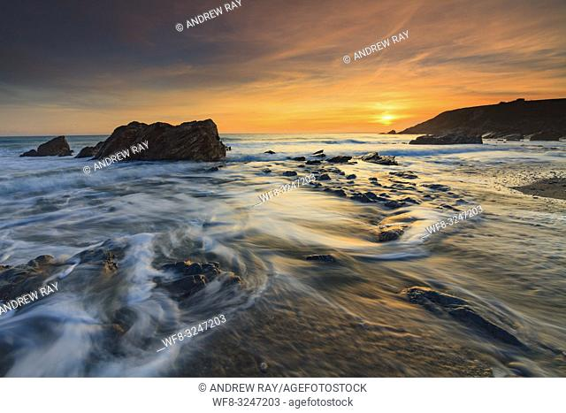 Dollar Cove at Gunwalloe on Cornwall's Lizard Peninsula, captured at sunset