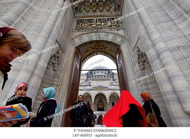 Main gate to Sueleymaniye Mosque, Istanbul, Turkey